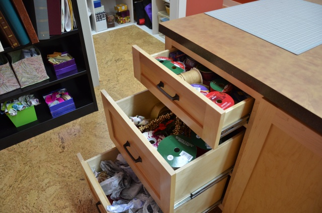 my craft room cutting table storage
