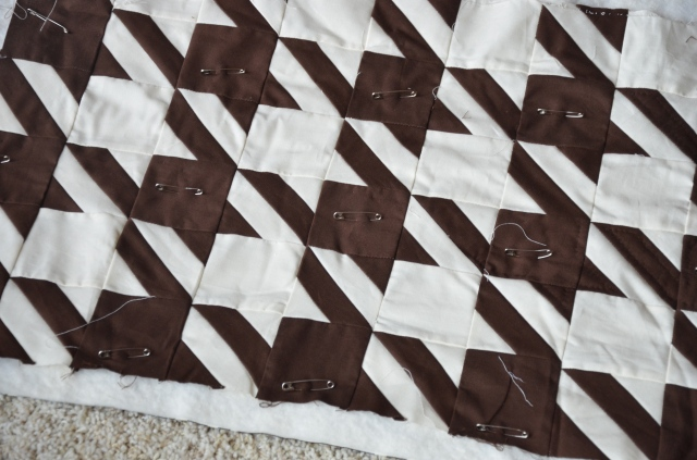 Houndstooth quilt pin basted