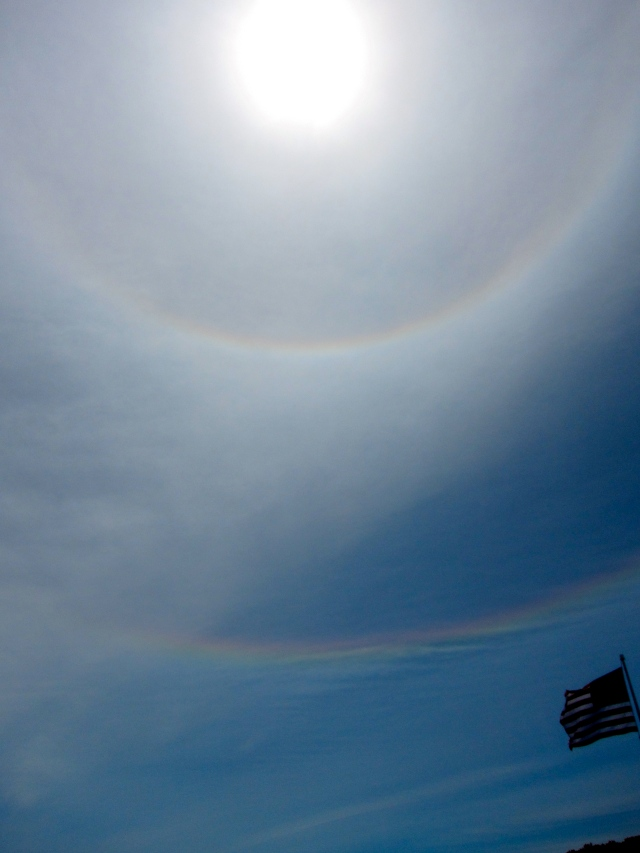 What does a double rainbow around the sun mean