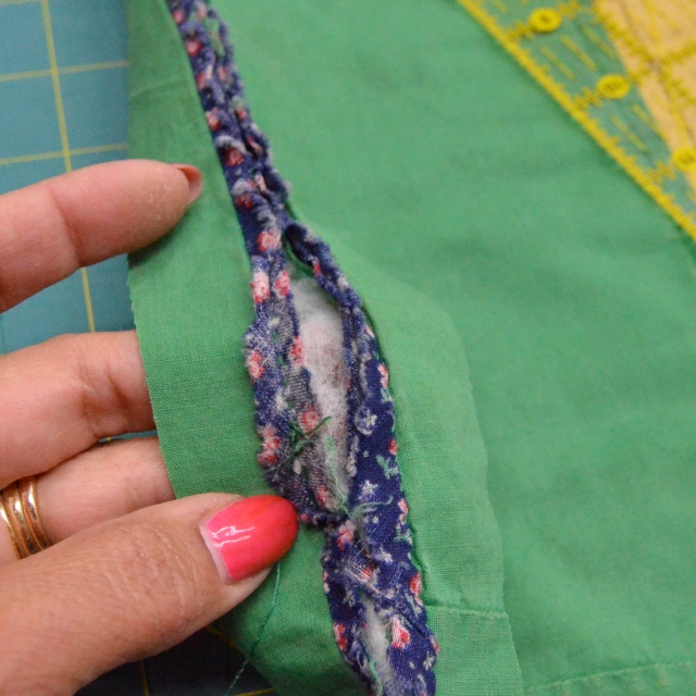 Hand stitched binding