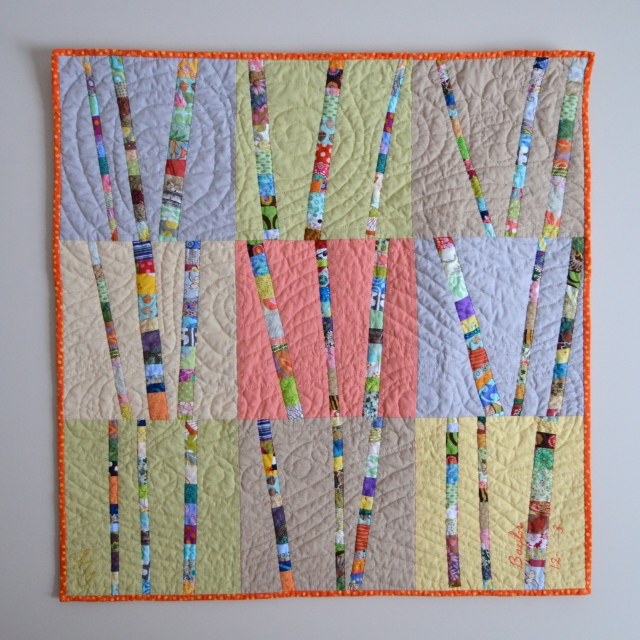 hand quilted wind Birch Trees quilt