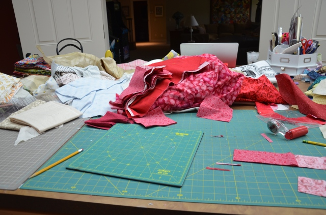 The mess it takes to make a quilt
