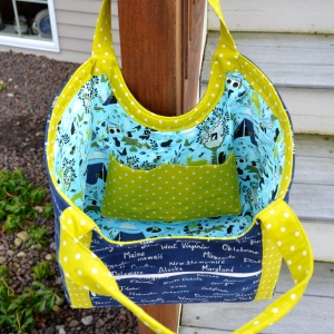 Inside Poolside Tote bag by Sewfrench Forest Frivolity in Sky