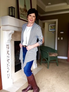 Navy striped cardigan with elbow patches @ Sewfrench