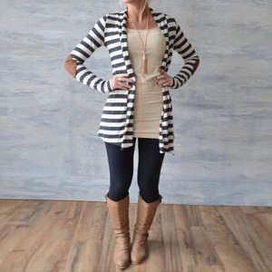 Navy striped cardigan elbow patches
